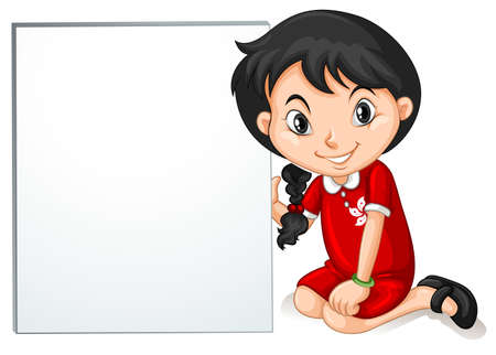 nationalities: Little girl from HongKong holding sign illustration