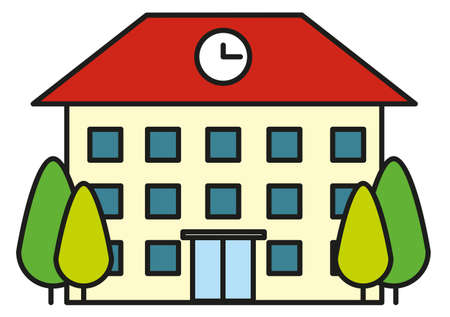 residental: Building with clock on roof illustration