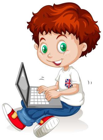 typing: Little boy working on laptop computer illustration