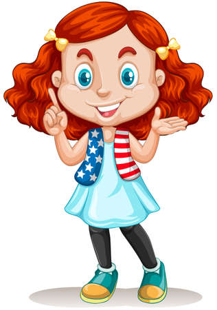 red hair: American girl with red hair illustration