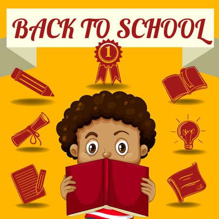 curly hair child: Boy reading book and other school symbols illustration