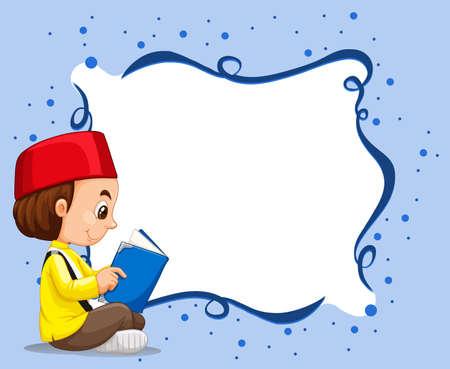 international students: Empty border with muslim boy reading background illustration Illustration