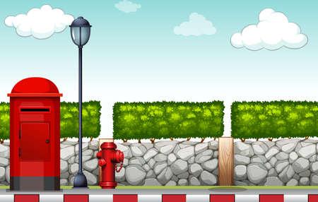 Sidewalk with lamp and mailbox illustration Illustration