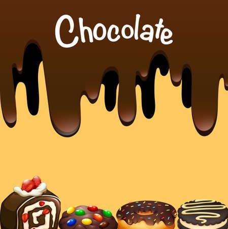 chocolate treats: Different dessert with chocolate illustration