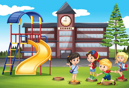 children art: Children playing at school playground illustration