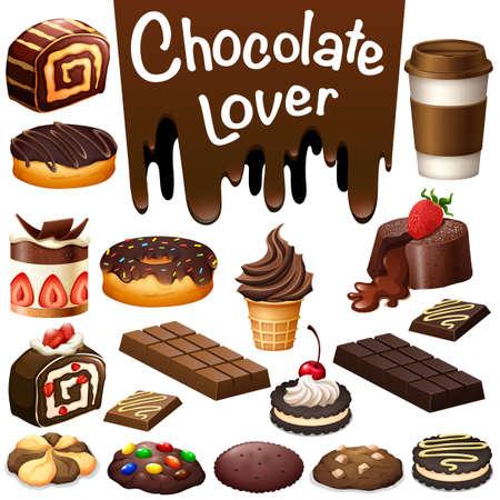 Verschillende soorten dessert chocolade smaak illustratie
