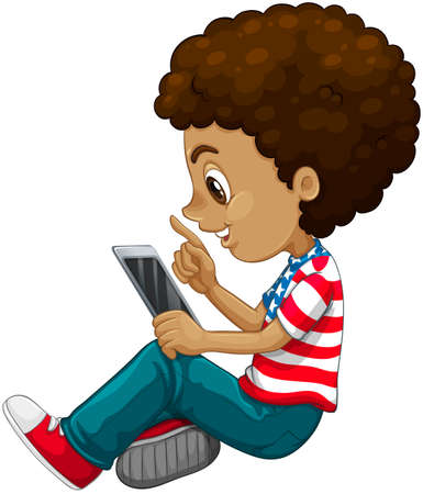 using tablet: Curly hair boy using tablet computer illustration