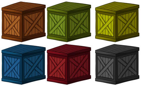 crates: Wooden boxes in different colors illustration Illustration