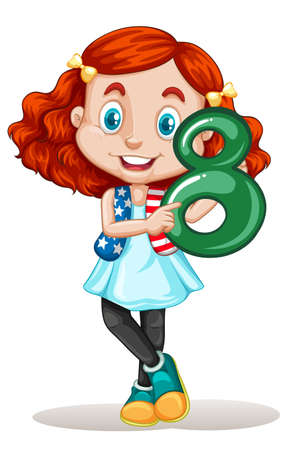clip art numbers: American girl holding number eight illustration