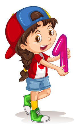 little one: Little girl holding number one illustration Illustration