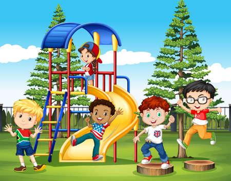 foreigner: International children at the park illustration