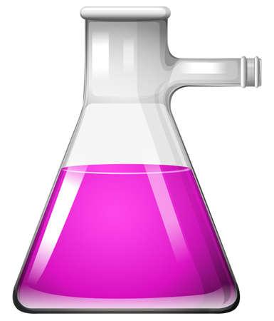 mixtures: Pink liquid in glass beaker illustration