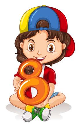 Little girl holding number eight illustration Illustration