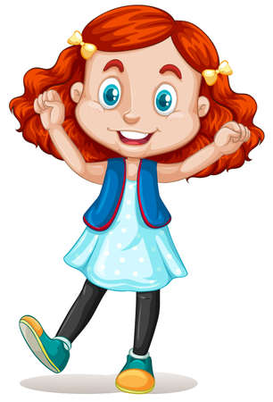 rood haar: Little girl with red hair illustration