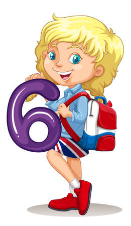 smile close up: Little girl holding number six illustration Illustration