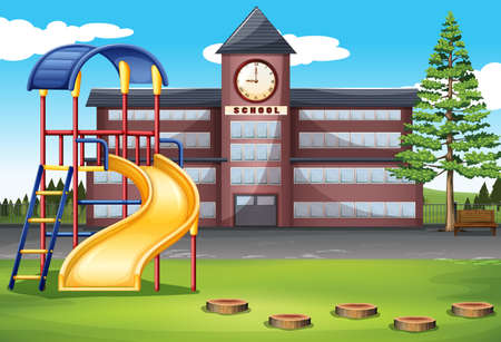highschool: School campus with playground illustration Illustration