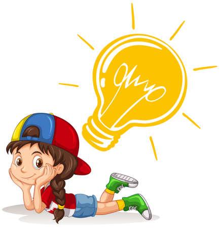 cute clipart: Little girl with lightbulb on her head illustration