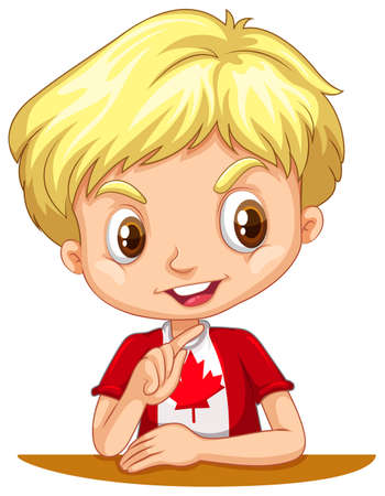 blond hair: Canadian boy with blond hair illustration Illustration
