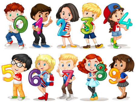 seven: Children holding number zero to nine illustration