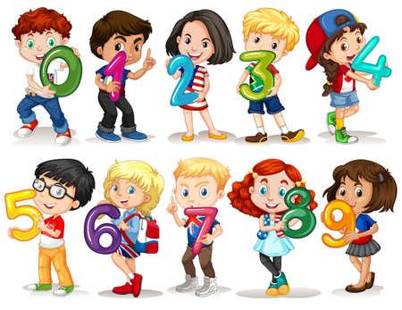 numero nueve: Niños que sostienen número cero a nueve ilustración