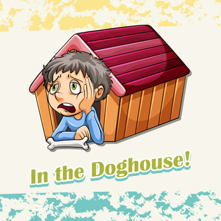 lonely person: Idiom in the doghouse illustration Illustration