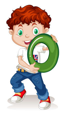 numbers clipart: Boy holding number zero illustration