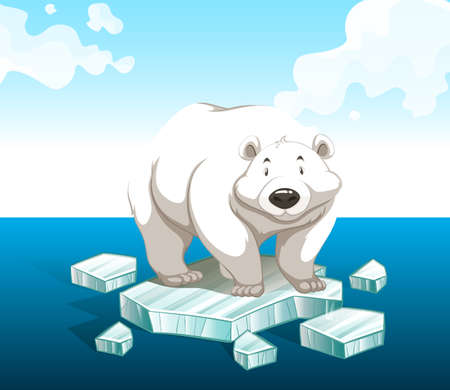 Polar bear standing on iceberg illustration