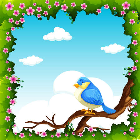 borders plants: Blue bird on the branch illustration