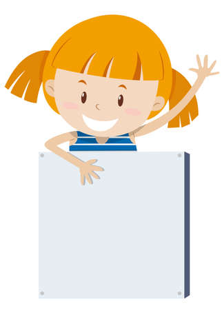 blonde teenager: Little girl and empty sign illustration