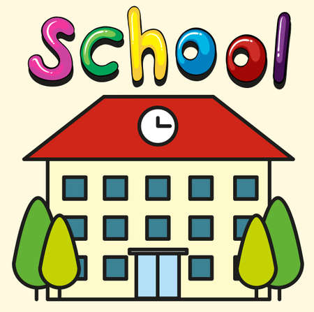 high school: School building with clock on roof illustration Illustration