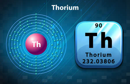thorium: Symbol and electron diagram for Thorium illustration Illustration