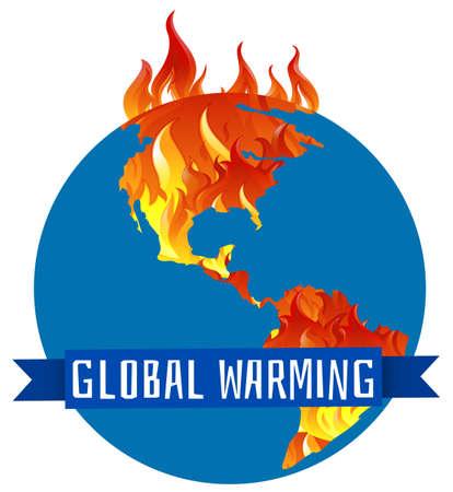 mundo contaminado: Cartel calentamiento global con la tierra en la ilustración del fuego Vectores