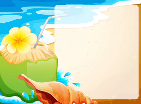 Blank Border With Coconut Juice On Beach Background Illustration Vector