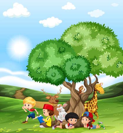 animals in the wild: Children and wild animals in the field illustration Illustration