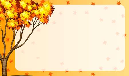autumn scene: Autumn scene with tree and orange leaves illustration Illustration