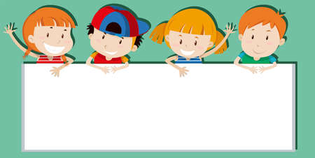 holding sign: Children holding empty sign illustration