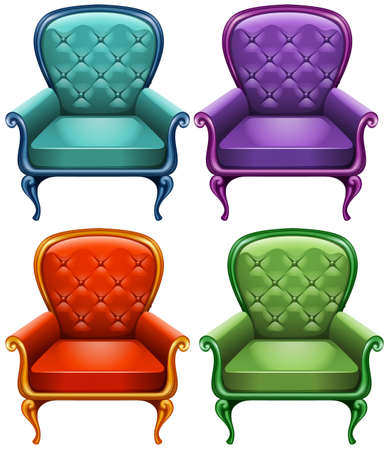 armchairs: Four color of armchairs illustration Illustration