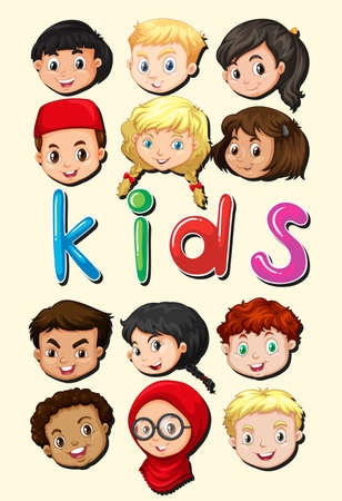 international students: Little kids from around the world illustration