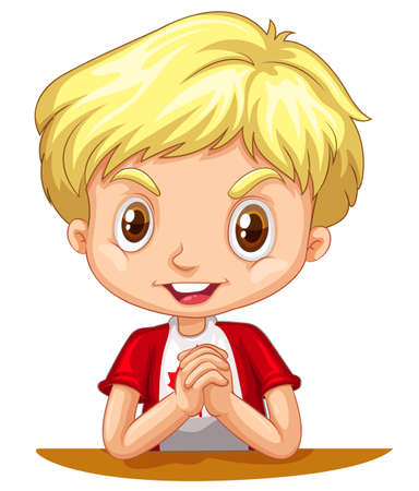 blond hair: Little boy with blond hair illustration Illustration