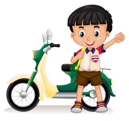 ni�o con mochila: El ni�o peque�o y la ilustraci�n de la motocicleta