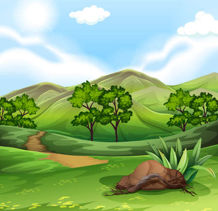 on the hill: Nature scene with field and hills illustration