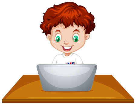 using laptop: Little boy using laptop computer illustration