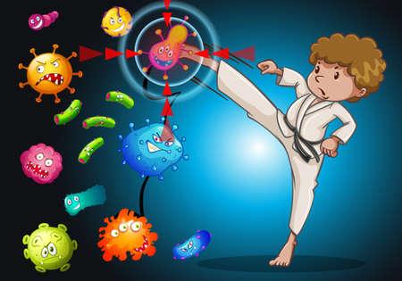 kicking: Man in karate uniform kicking bacteria illustration