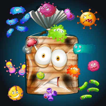 Bacteria on loaf of bread illustration Illustration
