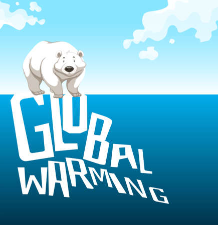northpole: Global warming sign with polar bear illustration