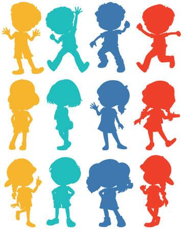 child running: Silhouette children in four colors illustration
