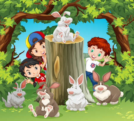forest clipart: Children in the jungle with rabbits illustration