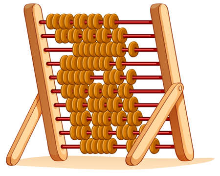 adding: Wooden abacus for calculation illustration