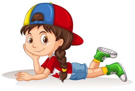 girl lying down: Little girl lying down illustration Illustration