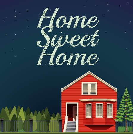arquitecto caricatura: Hogar, dulce hogar en la noche ilustraci�n Vectores